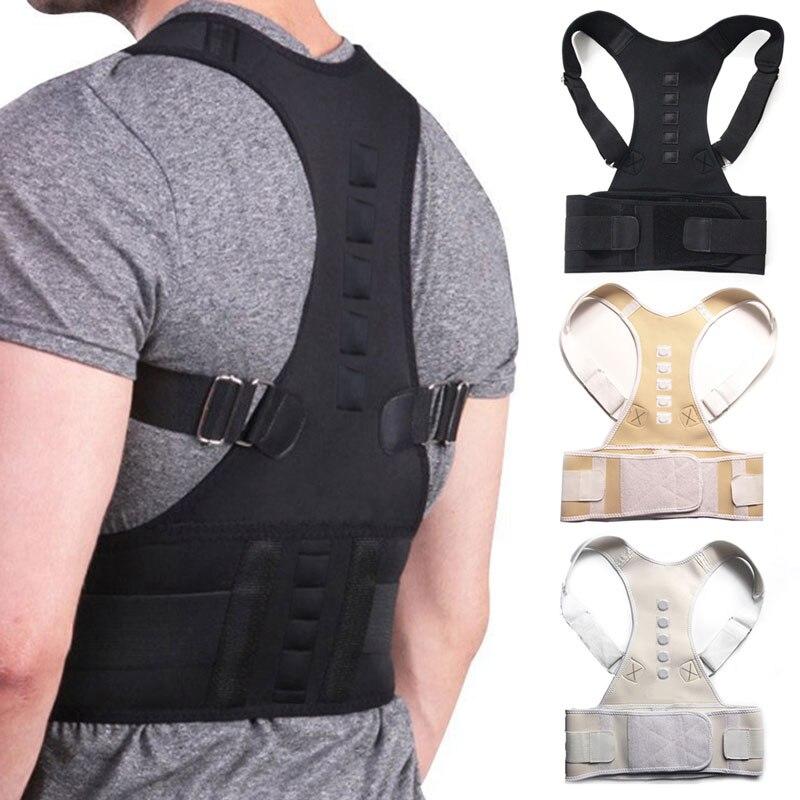Corsé Corrector de postura magnético ajustable para mujer, cinturón trasero, soporte Lumbar, Corrector recto de espalda S-XXL