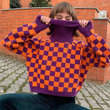 Harajuku Checkerboard Turtleneck Sweater Warm Cozy Pullover Jumper Knit Top For