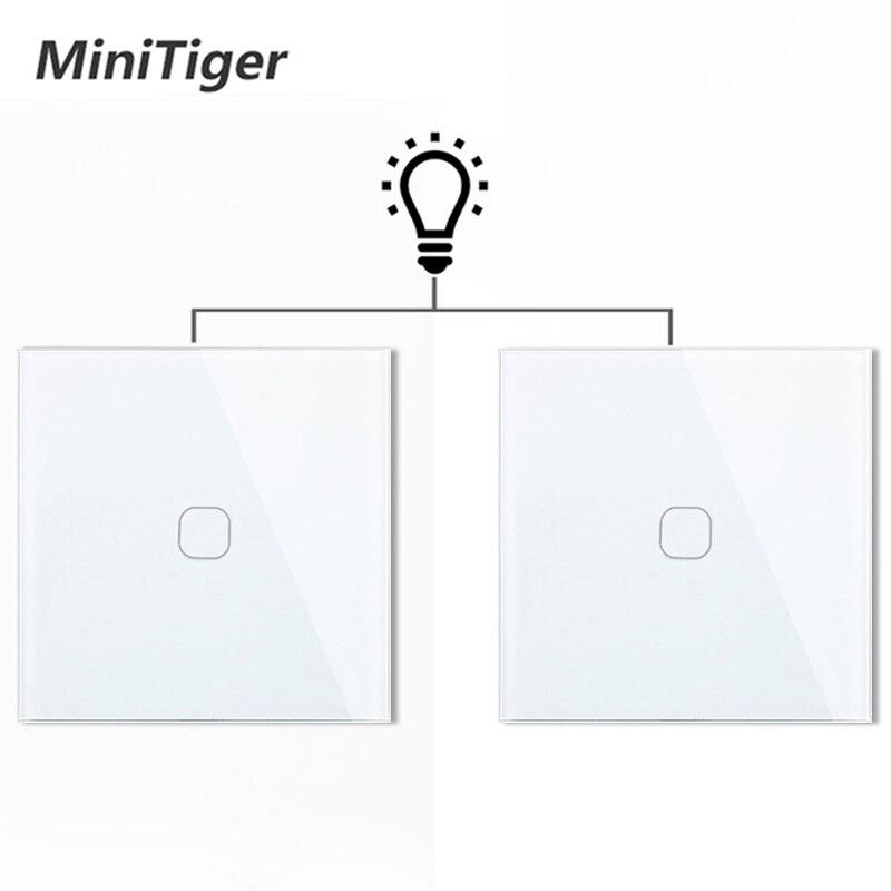 Minitiger ue 1 gang 2 vias controlador de luz parede automação residencial inteligente interruptor toque à prova dwaterproof água e à prova fogo 2 unidades/pacote