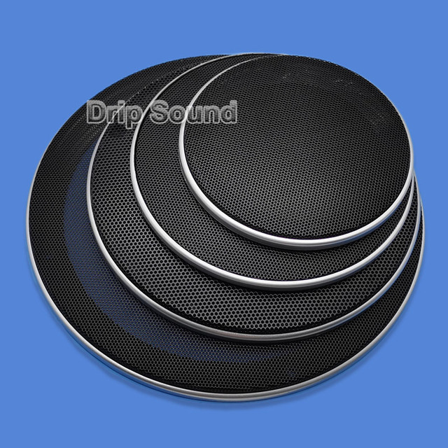 """For 4""""/5""""/6.5""""/8""""/10"""" Inch Speaker Conversion Net Cover Car Audio Decorative Circle Metal Mesh Grille Protection #Silver+Black"""