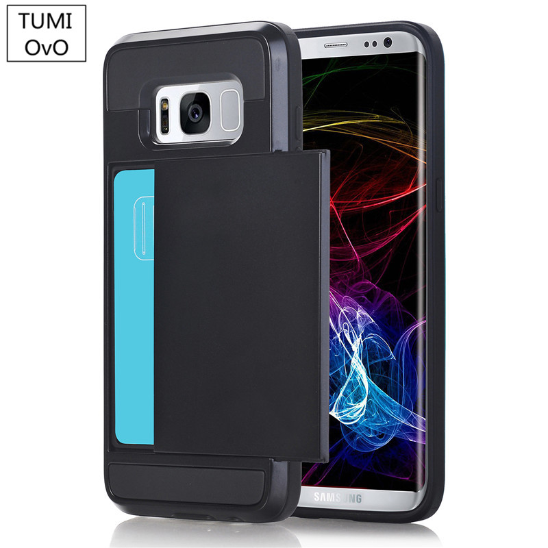 Luxury 2 in 1 Hybrid TPU + Plastic Card Pocket Wallet Shockproof Armor <font><b>Case</b></font> Cover For <font><b>Samsung</b></font> Galaxy S3 S4 S5 S6 <font><b>S7</b></font> Edge S8 Plus image