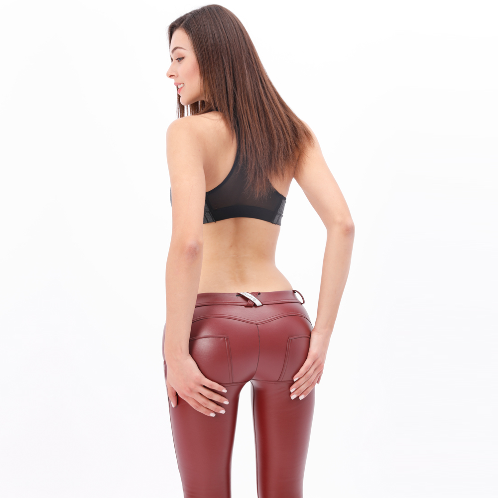 Melody Four Ways Stretchable Mid/High Waist Wine Red Color PU Leather Pants Autumn Winter Warm Faux Leather With Fleece Lining