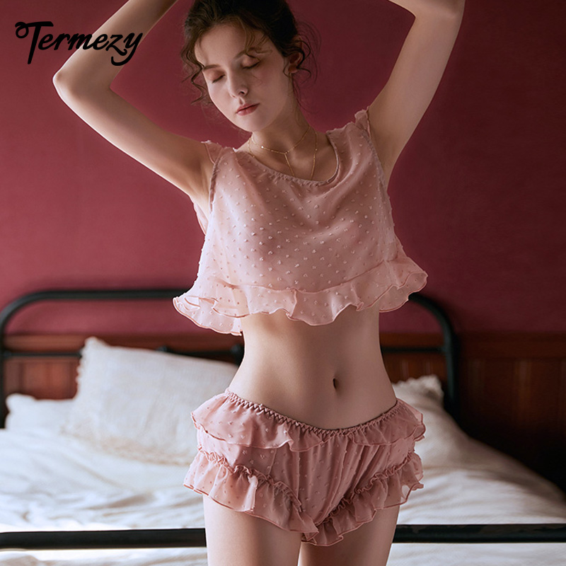 TERMEZY Women Sexy Lace Lingerie Set Casual Loose Sleeveless Sleepwear Transparent Temptation Two Pieces Pajama Shorts Set
