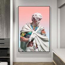 Vaporwave скульптура Давида холст художественные плакаты граффити