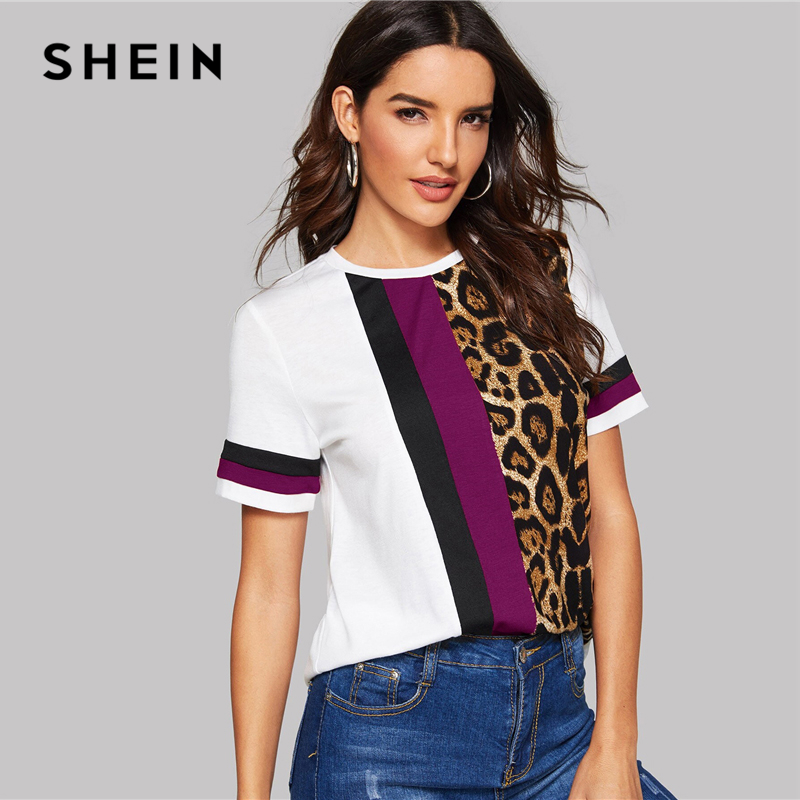 Block Cut-and-Sew Leopard Panel Top Short Sleeve O-Neck Casual T Shirt 9