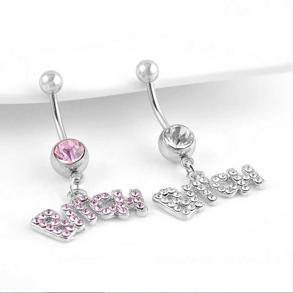 "Sexy Crystal Piercing Chirurgisch Knop Buik Ring Sieraden Navel Bar Brief ""Bitch"" Witter/Roze"