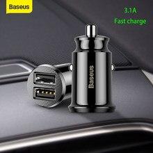 Baseus-Mini cargador USB Dual para coche, adaptador de carga rápida de 5V 3.1A, 2 puertos, para teléfono móvil, tableta y coche