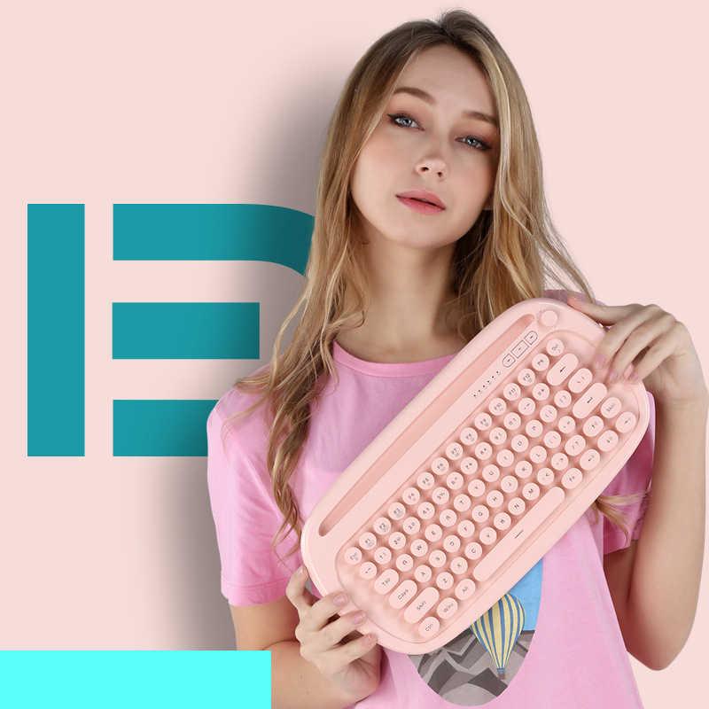 Victsing 85 Tombol Keyboard Nirkabel Lampu Latar dengan Bulat Tombol Bluetooth Keyboard Dual Connect untuk Kantor PC Laptop