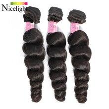 Perulu gevşek dalga siyah demetleri insan saçı örgüsü Nicelight 1 paket saç örgü tek paketler 1/3/4 paket fiyatları saç satıcıları
