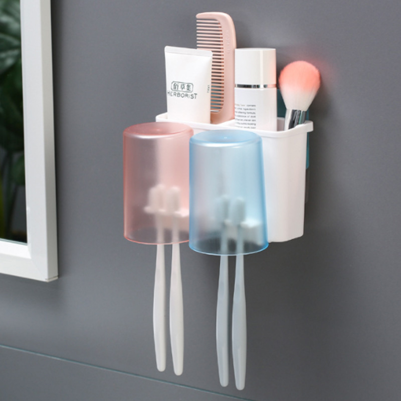 Double Cups Mouthwash Cup Set Household Toothbrush Cup has cup holder stick on wall image
