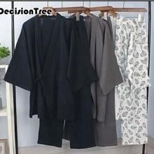 Мужские традиционные кимоно, пижамы, костюмы, халат, комплект одежды, домашний халат, Мужская одежда для сна, свободная хлопковая японская Пижама hombre