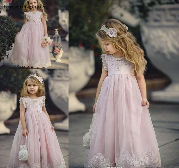 2019 Cheap Lovely Pink Jewel Neck Long Lace Boho   Flower     Girl     Dresses   Daughter Toddler Pretty Kids Pageant First Holy Gowns