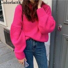 Colorfaith nowy 2020 jesienne zimowe damskie swetry ciepłe pulowery Oversize Harajuku minimalistyczny dzianiny Vintage topy damskie SW1849
