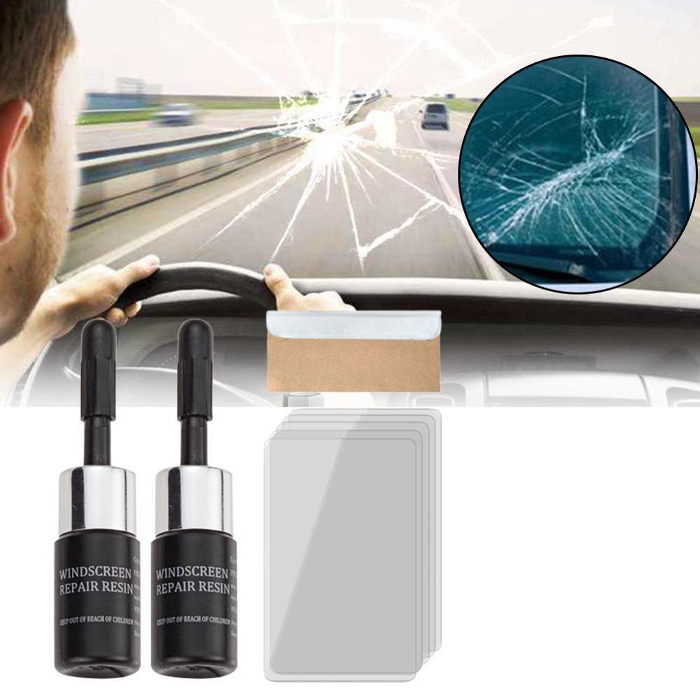 DIY Window Repair Tools Car Windshield Repair Tool  Windscreen Glass Scratch Crack Restore Window Screen Resin+blade+strips