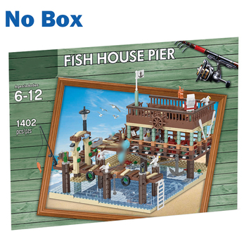 MOC City Series 1402Pcs Small Particle 3D Street View Fish House Pier Building Blocks DIY Assembly Construction Kit For Fun