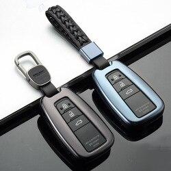 Samochód stopu Aluminium klucz pokrywa uchwytu skrzynki Shell dla Toyota camry corolla C HR CHR Prado RAV4 Prius 2018 2019 2/3/4 przyciski w Etui na kluczyki samochodowe od Samochody i motocykle na