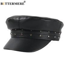 Женская шапка buttermere черная из искусственной кожи берет