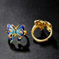 Серебряное кольцо с бабочкой из стерлингового серебра 925 пробы в национальном стиле, Винтажные Ювелирные изделия, регулируемые