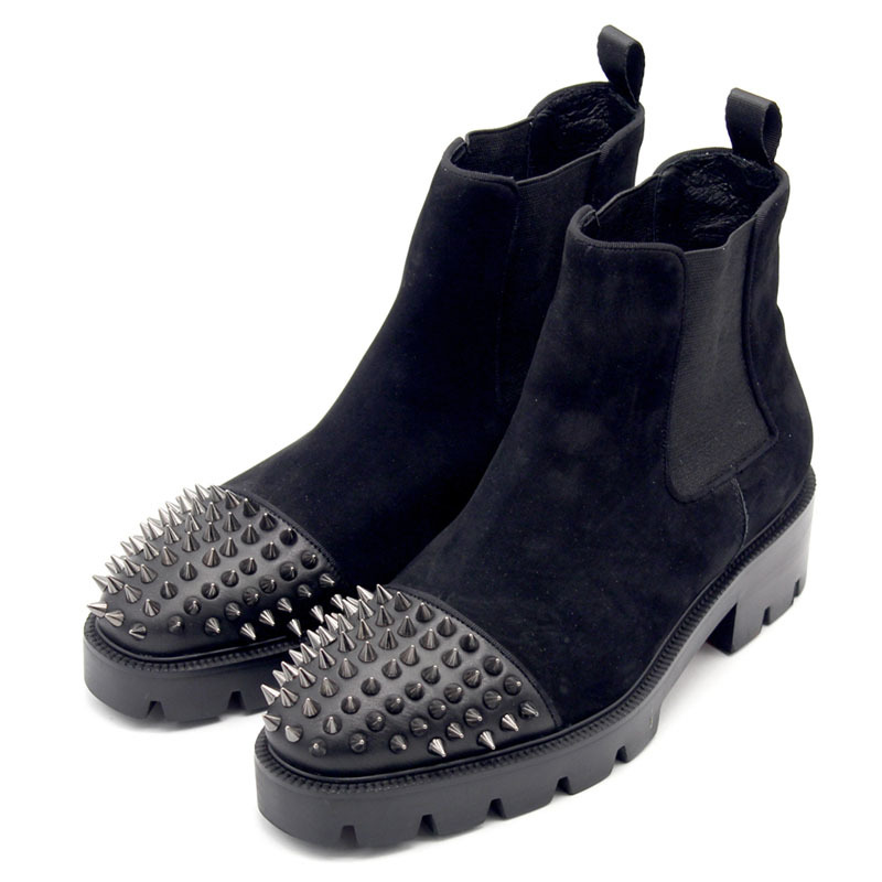 Runway Thick Platform Rivet Genuine Leather Boots Men High Quality Winter Slip On Chelseas Boots Dress Wedding Botas Plus Size