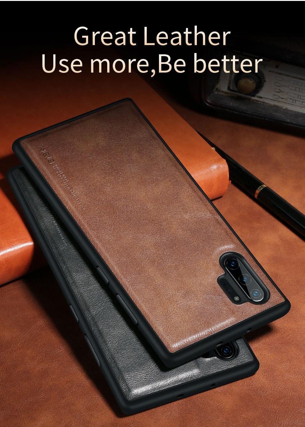 H56f0e2f5d4b54a2cb83747330349ef3ba X-Level Leather Case For Samsung Note 10 Plus Soft Silicone Edge Back Phone Cover For Samsung Galaxy Note 10 Case Note10 Plus