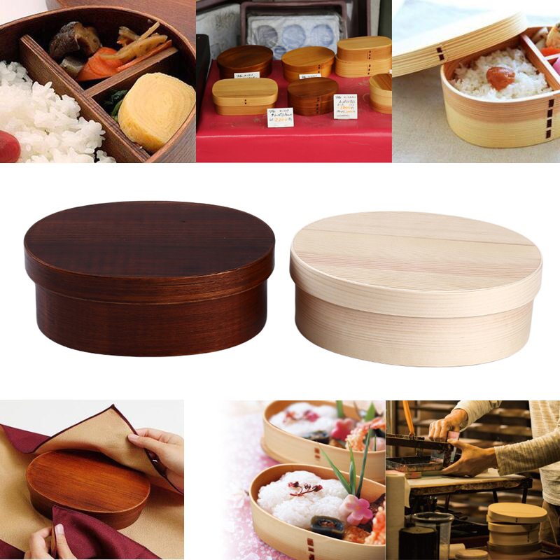 Japanese Style Bento Boxes 3Grids <font><b>Wood</b></font> <font><b>Lunch</b></font> <font><b>Box</b></font> Portable Picnic Kids Students Food Container Kitchen Accessories image