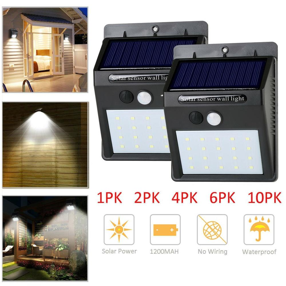 20 LED Outdoor Solar Wall Lamp Motion Sensor Waterproof Light Garden Light Path Emergency Security Light 3 Sided
