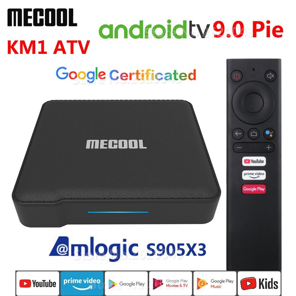 MECOOL KM1 ATV Amlogic S905X3 Android 9.0 TV BOX 4GB RAM 32GB 64GB ROM Wifi Bluetooth 4K HD Google Certified Set Top Box 2G 16G