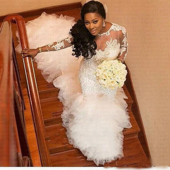 Amazing Train African Mermaid Wedding Dresses 2020 Gorgeous Lace Arabic Country Bridal Gown Bride Dress - discount item  33% OFF Wedding Dresses
