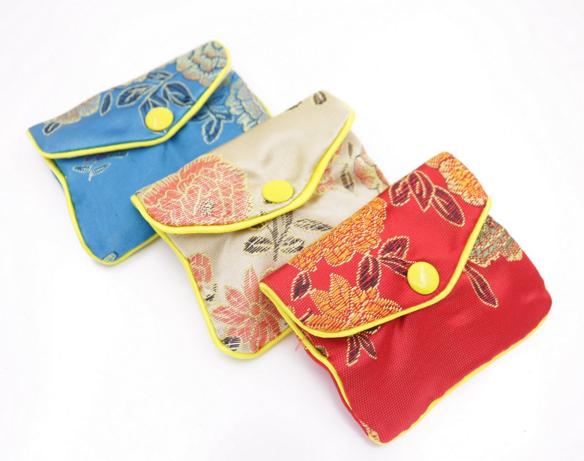 12 pcs Multi-color gift bag pouch 65mmx80mm silk cloth gift jewelry bags pouches