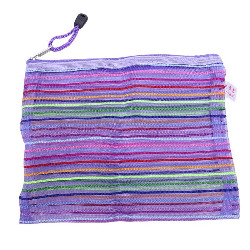 Zipper Nylon Mesh Purple Stripe A5 Documents, Pen File Pocket Folder