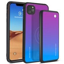 Para o iphone 11 11 pro caso 5000 mah gradiente 2 em 1 carregador sem fio magnético powerbank caso para iphone 11 11 pro max bateria caso