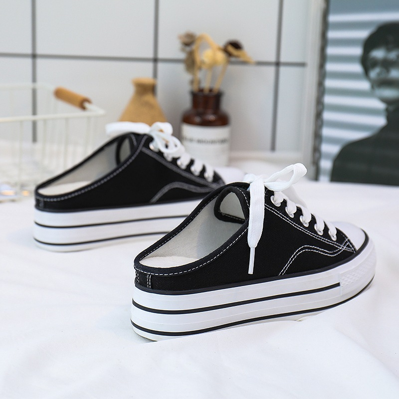 2019 Summer new semi-drag walking shoes women's increased canvas shoes platform sports shoes zapatos de mujer ZQ-160