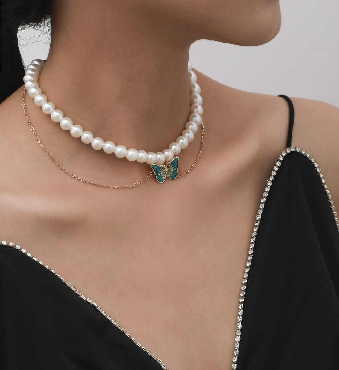 Jewelry with fashion all-match white imitation pearl elegant temperament green butterfly cross chain necklace for female