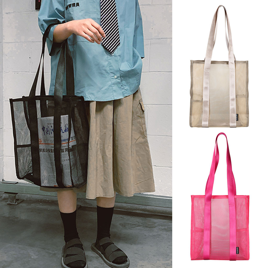 Simple Shopping Bag Unisex Transparent Mesh Shopper Tote Bags Portable Reusable Grocery Bag Solid Color Net Large Shopping Bags