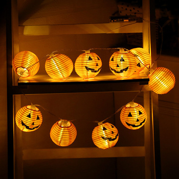 LED Pumpkin Light Halloween String Lights Lamp DIY Hanging Ornament for Party Decoration Candle Lamps