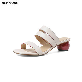 2020 New Genuine Leather Women Shoes Fashion Sexy 5cm Heel Square Toe Women Shoes Ladies Summer Casual Outdoor Slippers