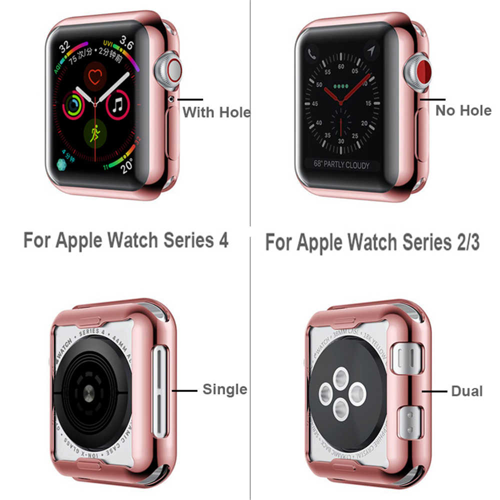 Watch Cover case For Apple Watch series 4 3 2 1 band case 42mm 38m 40mm 44mm Slim TPU case Protector for iWatch 4 44mm