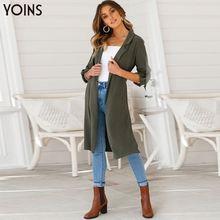 цена на YOINS 2019 Women Blazer Autumn Winter Trench Self-Belt Lapel Jackets Long Sleeve Split-hem Button Streetwear Casual Work Coats