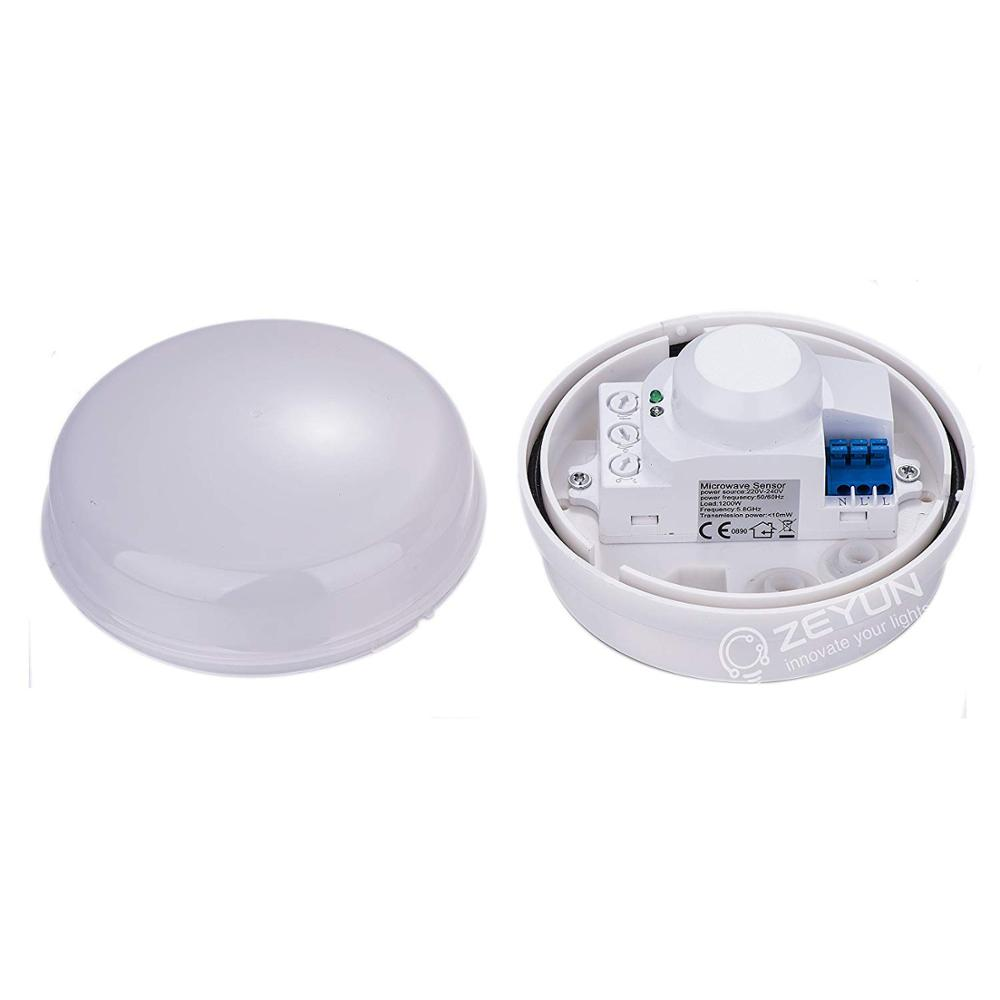 HF Sensor, Ceiling Microwave Motion Sensor Light Switch For Indoor And Outdoor, Automatic Turn On/Off, 360°, 20m Detection Range