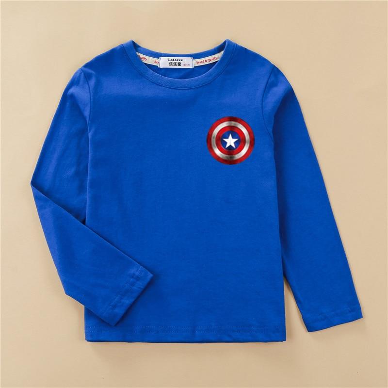 Shield Children T-shirt Long Sleeve Cotton Boy Tops Cartoon Print Design Tees Kids Casual Spring Clothes Boys Captain Shirts 4