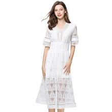New White Dress Women Lace Female Summer Seaside Vacation Beach Short Sleeve V-neck Clothes Solid Color Boho Style