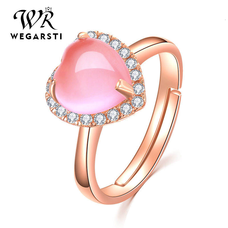 WEGARSTI Heart Gemstone Created Pink Rose Quartz Adjustable Ring 925 Sterling Silver Jewelry For Women Wedding