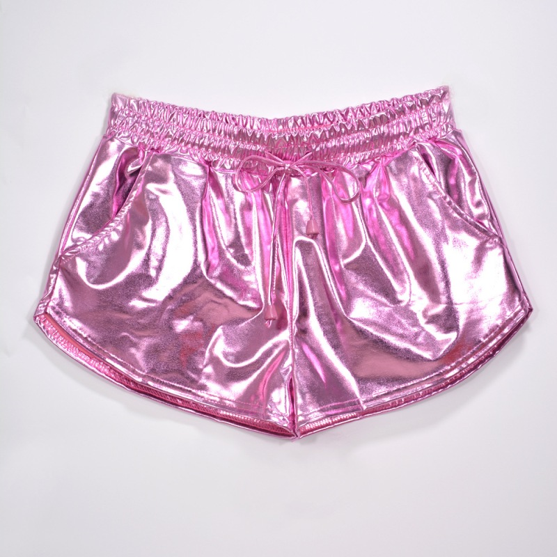 Women Shiny Metallic Hot Shorts 2019 Summer Holographic Wet Look Casual Elastic Drawstring Festival Rave Booty Shorts