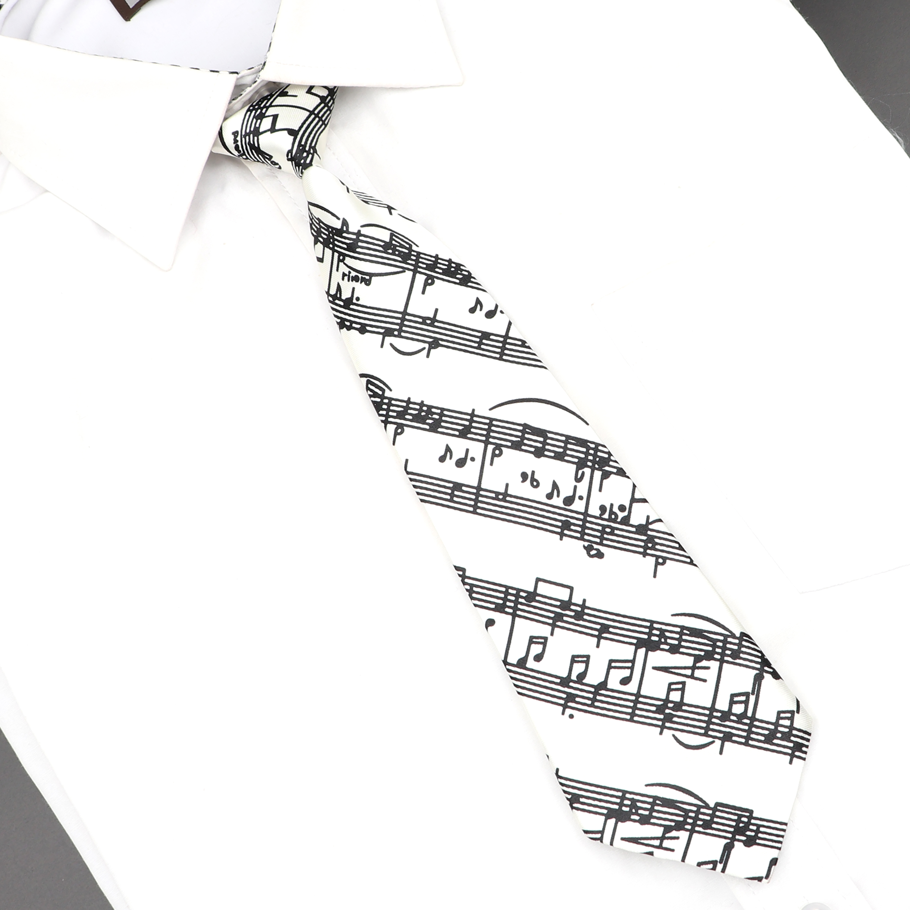 Classic Fashion Kids Skinny Tie Colorful Musical Notes Printed Piano Guitar Polyester 5cm Width Necktie Party Gift Accessory