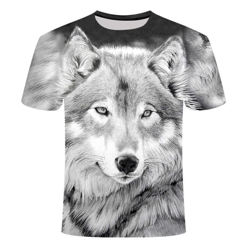 Nieuwste Wolf 3d Print Animal Hip Hop Koele Grappige T-shirt Mannen Korte Mouw Zomer Tops Tshirt Mannelijke Mode T-shirt Man 6xl