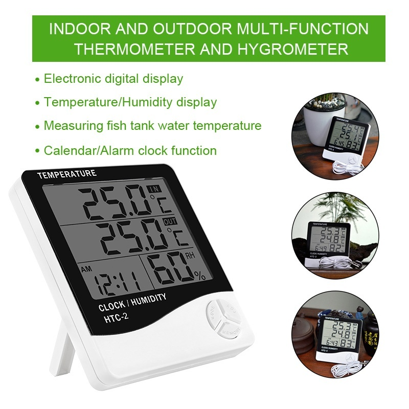 1//2 x Indoor LCD Digital Hygrometer Thermometer Temperature Humidity Meter Clock