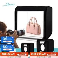 Caja de estudio fotográfico para el hogar, tienda de luz Led de 40cm/60cm con atenuación plegable, con fondos de 4 colores para fotografía de productos