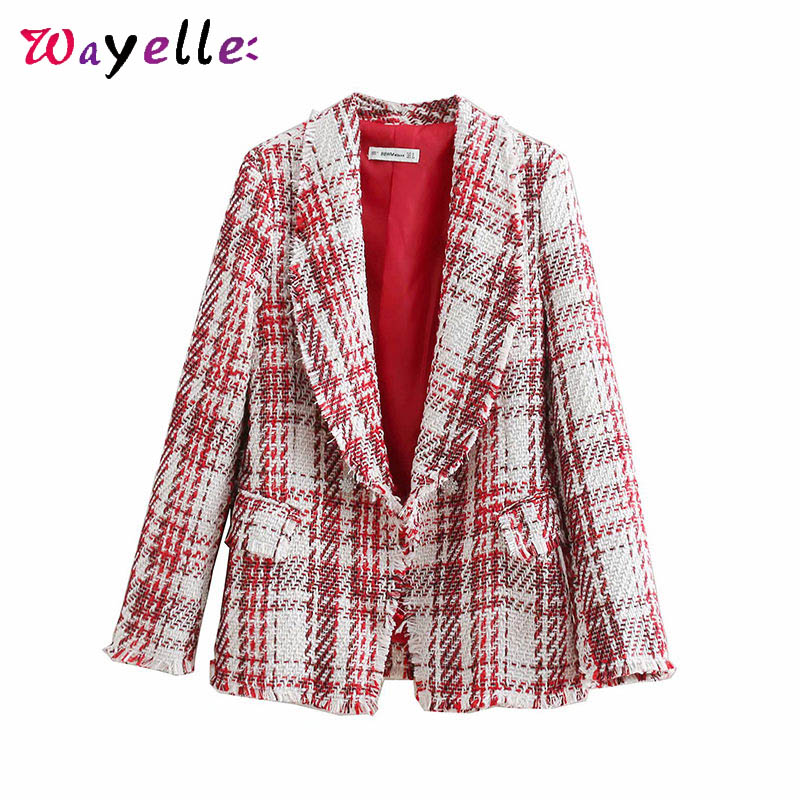 Tweed Plaid Basic Women Blazers 2019 Retro Notched Collar Long Sleeve Womens Jackets Frayed Tassel OL Women Blazers and Jackets