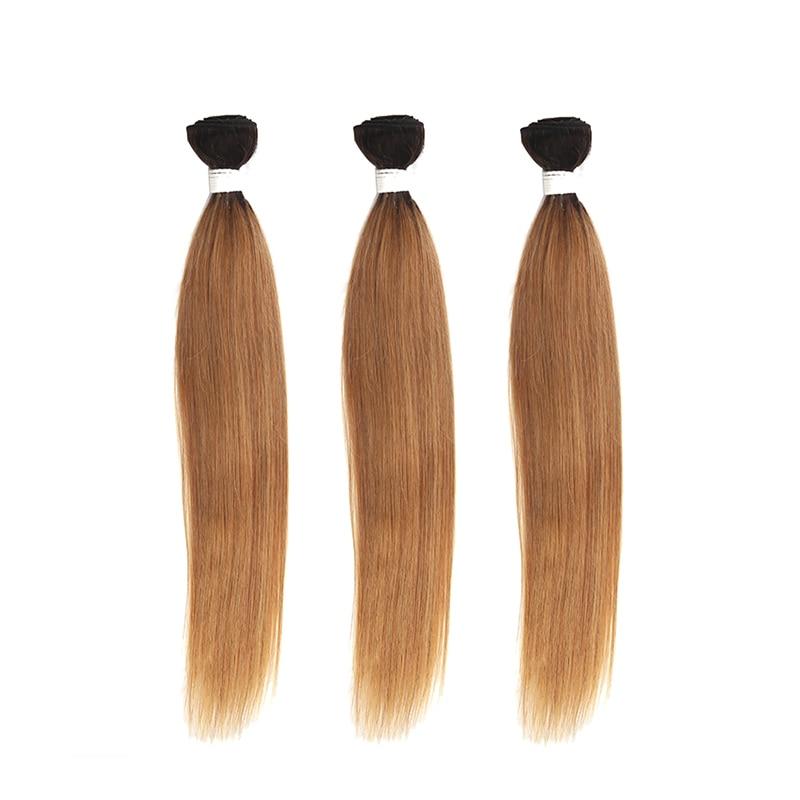 Ombre Blonde Hair Bundles KEMY HAIR T1b/27 30 Brazilian Straight Human Hair Weave Bundles 1 PC 100% Non-Remy Hair Extension