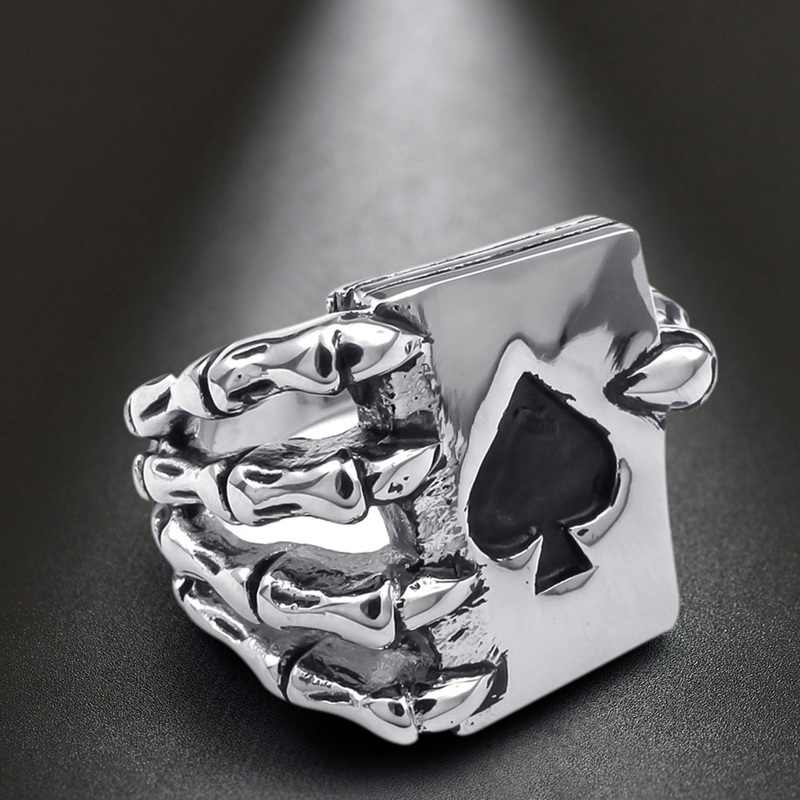 2019 Vintage Playing Card Design Rings For Men Gothic Skull Hand Claw Poker Ring Antique Silver Color Classic Cool Lover Jewelry